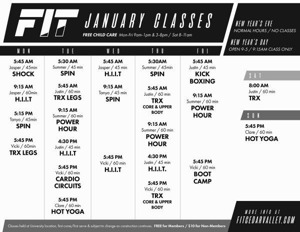 fit class schedule