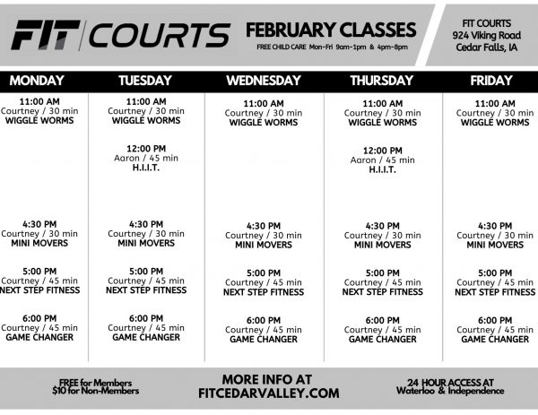 February FIT COURTS Class Schedule