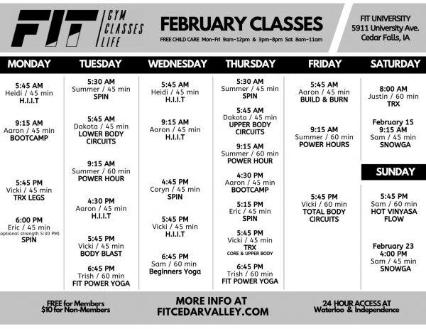 February University Class Schedule