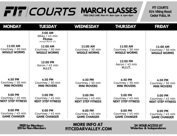 March FIT COURTS Class Schedule