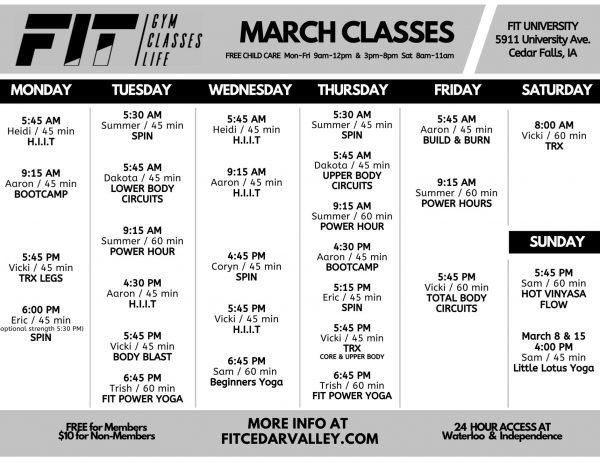 March University Class Schedule
