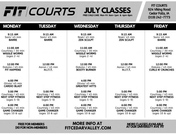 JULY FIT COURTS Class Schedule