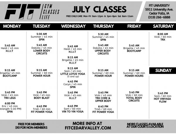JULY University Class Schedule 4