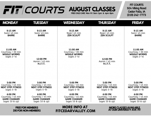AUGUST FIT COURTS Class Schedule