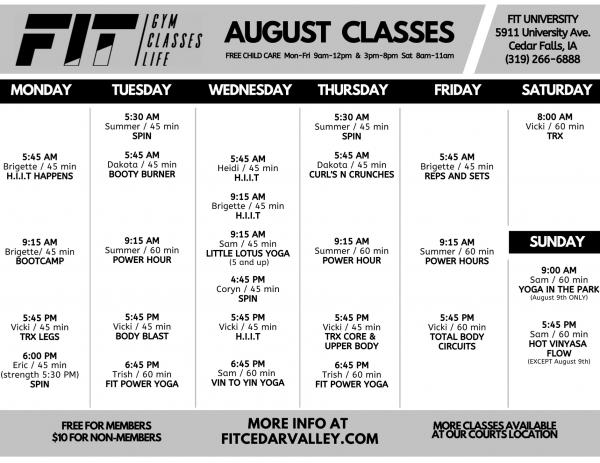 AUGUST University Class Schedule