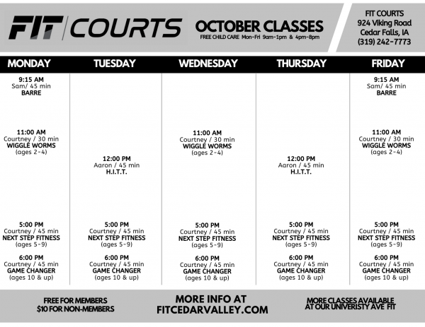 October FIT COURTS Class Schedule