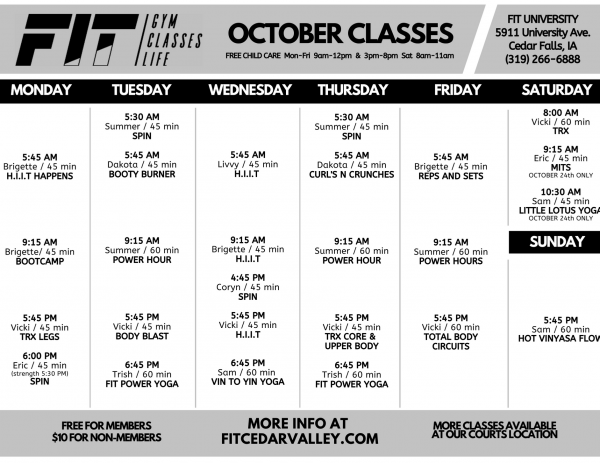 October University Class Schedule