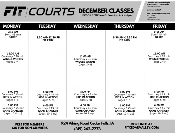 DECEMBER FIT COURTS Class Schedule-1