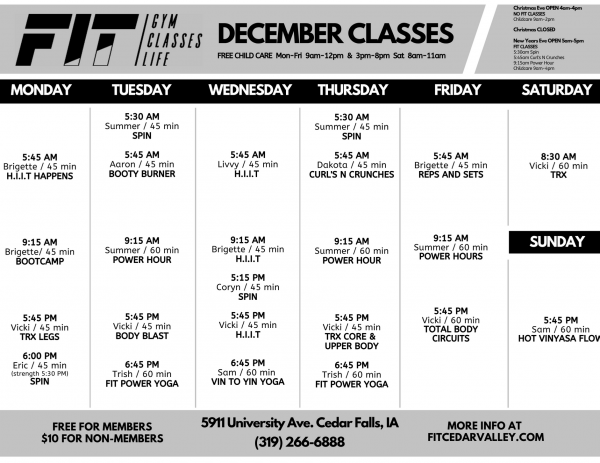 December University Class Schedule-1