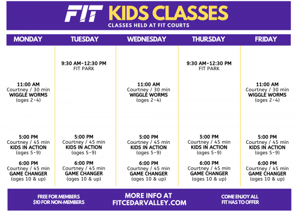 Kids Class Schedule 2020