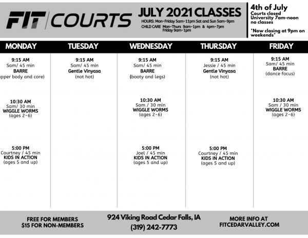 2021 FIT COURTS Class Schedule (July)