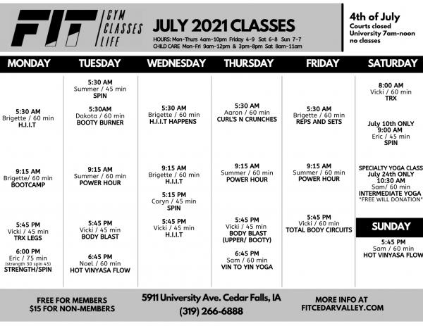 July 2021 University Class Schedule