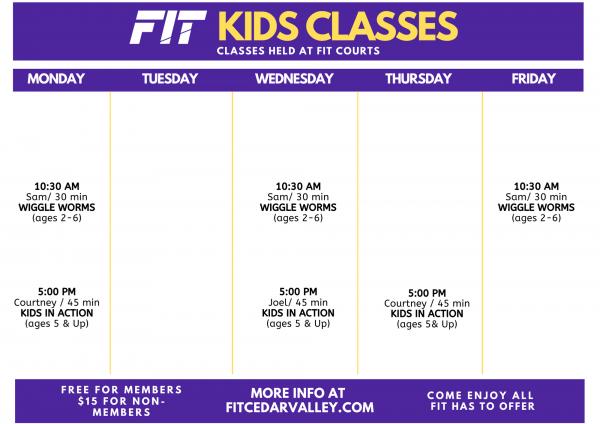 Kids Class Schedule 2021